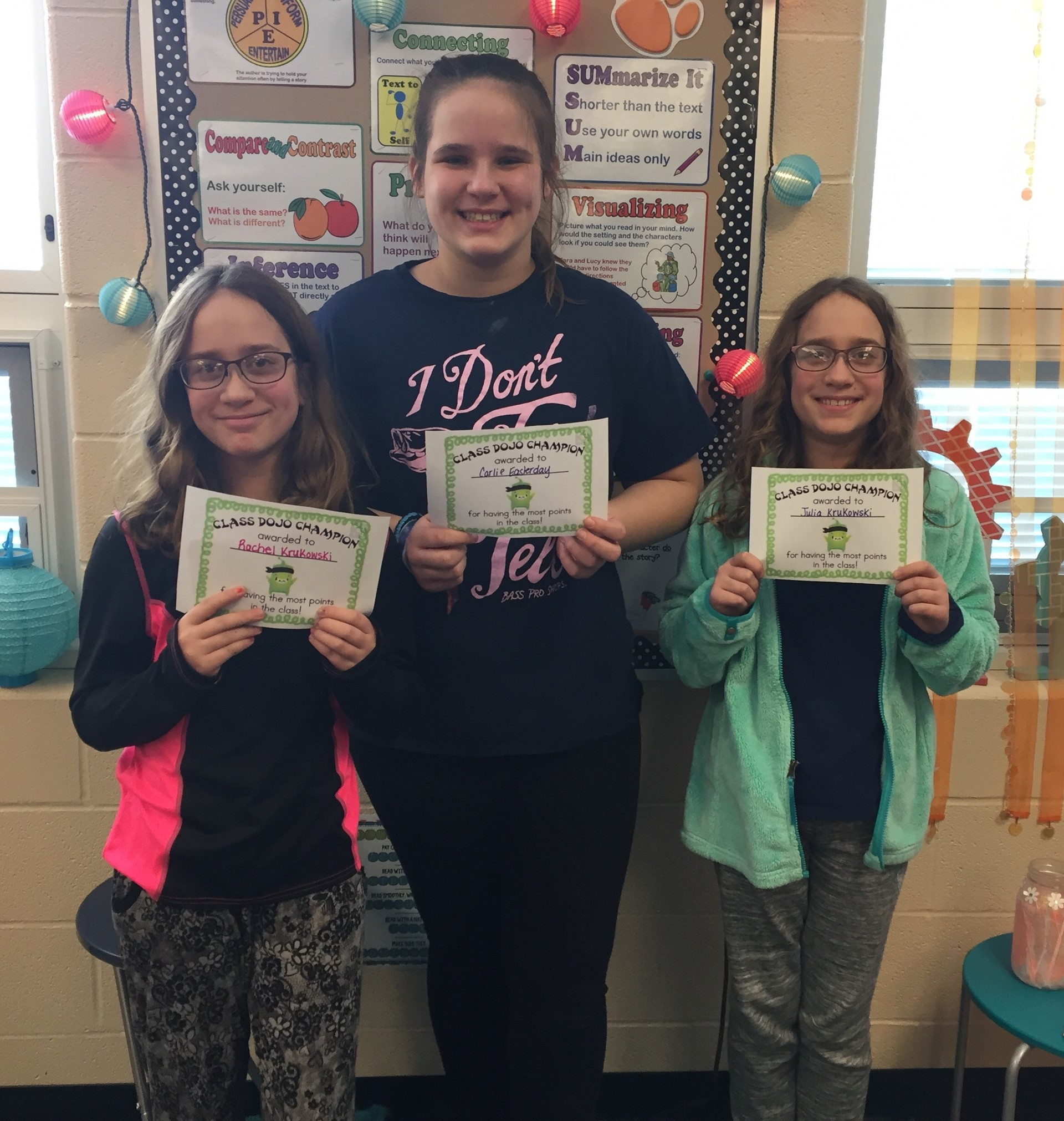 Class Dojo Winners for grade 5 (2nd grading period)
